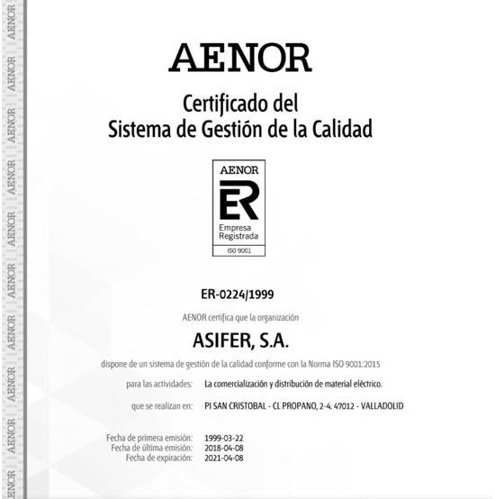 ASIFER renueva su certificación ISO 9001 de AENOR