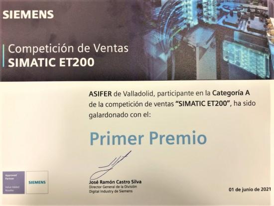 ASIFER, S.A. logra el primer puesto en la Categoría A de la Competición nacional SIMATIC ET-200 de Siemens.